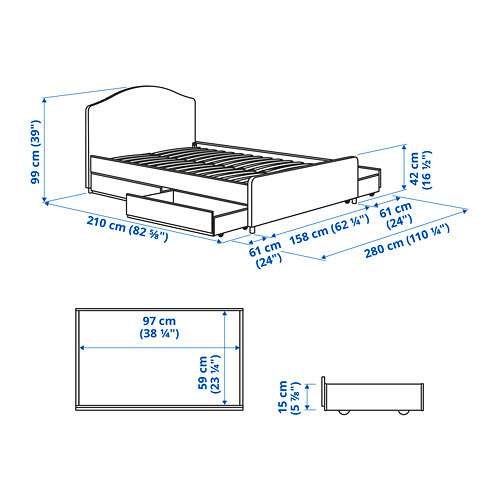 HAUGA upholstered bed, 4 storage boxes, queen