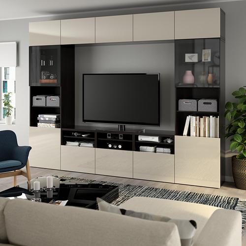 BESTÅ - 電視貯物組合/玻璃門, black-brown/Selsviken high-gloss/beige clear glass | IKEA 香港及澳門 - PE737034_S4