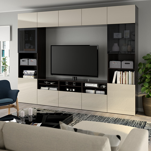 BESTÅ - 電視貯物組合/玻璃門, black-brown/Selsviken high-gloss/beige smoked glass | IKEA 香港及澳門 - PE737049_S4