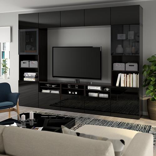 BESTÅ - 電視貯物組合/玻璃門, black-brown/Selsviken high-gloss/black smoked glass | IKEA 香港及澳門 - PE737061_S4