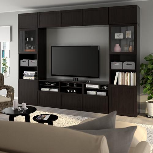 BESTÅ - 電視貯物組合/玻璃門, black-brown/Hanviken black-brown clear glass | IKEA 香港及澳門 - PE737055_S4