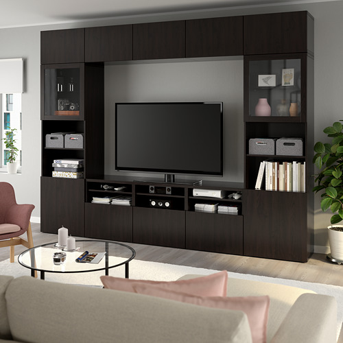 BESTÅ - 電視貯物組合/玻璃門, black-brown/Lappviken black-brown clear glass | IKEA 香港及澳門 - PE737037_S4