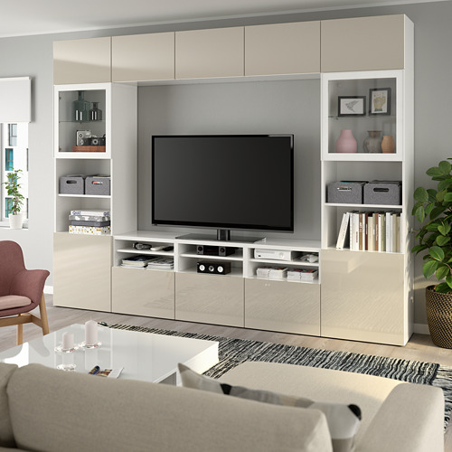 BESTÅ - 電視貯物組合/玻璃門, white/Selsviken high-gloss/beige clear glass | IKEA 香港及澳門 - PE737039_S4
