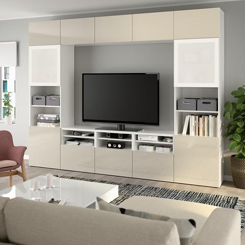 BESTÅ - 電視貯物組合/玻璃門, white/Selsviken high-gloss/beige frosted glass | IKEA 香港及澳門 - PE737053_S4