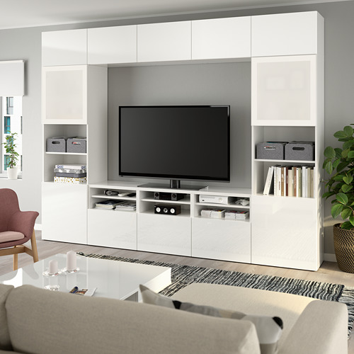 BESTÅ - 電視貯物組合/玻璃門, 白色/Selsviken 光面/白色/磨砂玻璃 | IKEA 香港及澳門 - PE737041_S4