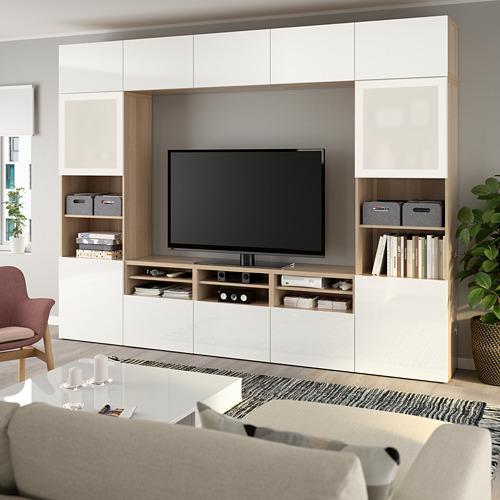 BESTÅ - 電視貯物組合/玻璃門, white stained oak effect/Selsviken high-gloss/white frosted glass | IKEA 香港及澳門 - PE737045_S4