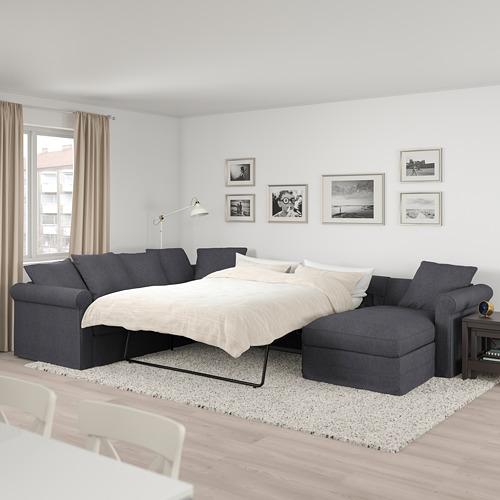 GRÖNLID - corner sofa-bed, 5-seat, with chaise longue/Sporda dark grey   IKEA Hong Kong and Macau - PE690415_S4