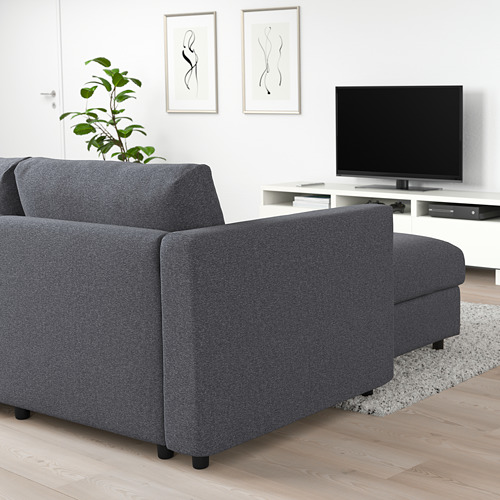 VIMLE - 3-seat sofa, with chaise longue/Gunnared medium grey | IKEA Hong Kong and Macau - PE721737_S4