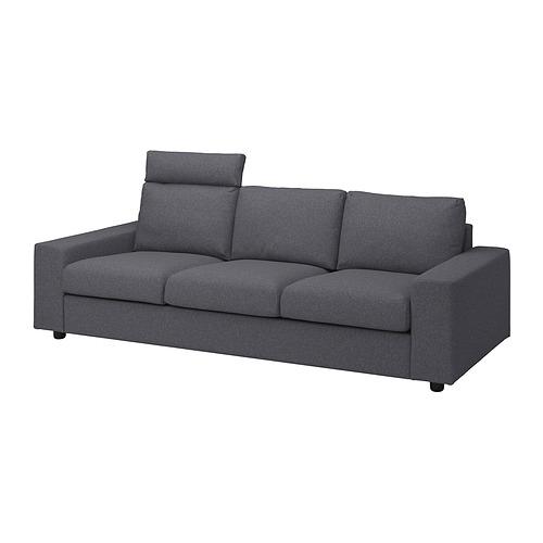 VIMLE - 三座位梳化布套, with headrest with wide armrests/Gunnared medium grey | IKEA 香港及澳門 - PE836086_S4