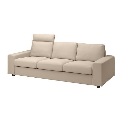 VIMLE - 三座位梳化布套, with headrest with wide armrests/Hallarp beige | IKEA 香港及澳門 - PE836089_S4