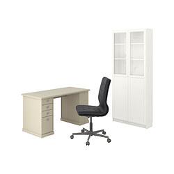 BILLY/OXBERG/VEBJÖRN/MULLFJÄLLET - 書檯連貯物組合, and swivel chair beige/grey/white | IKEA 香港及澳門 - PE836203_S3