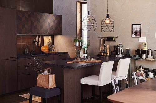 METOD - 吊櫃連推按式開關, white Hasslarp/brown patterned | IKEA 香港及澳門 - PH179312_S4