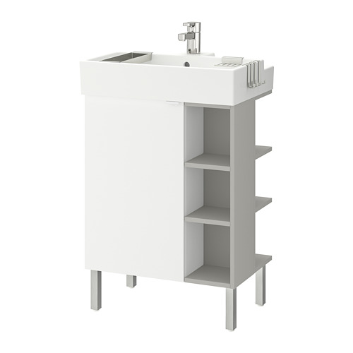 LILLÅNGEN - washbasin cab 1 door/2 end units, white/grey Ensen tap | IKEA Hong Kong and Macau - PE737700_S4