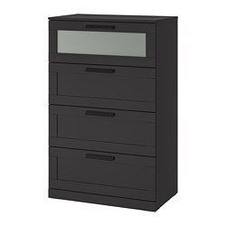 BRIMNES - chest of 4 drawers, black/frosted glass | IKEA Hong Kong and Macau - PE694910_S3