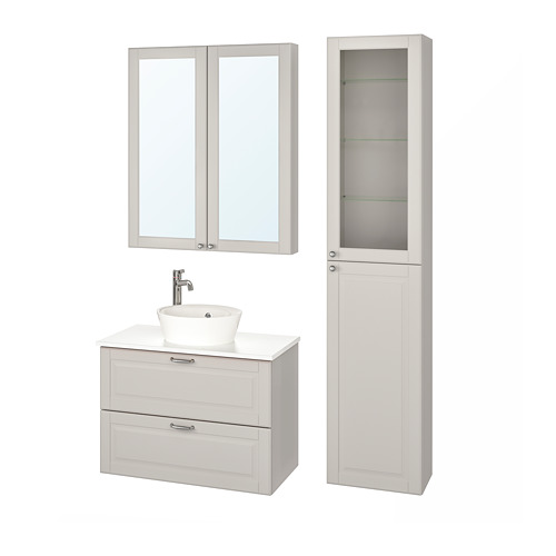 KATTEVIK/GODMORGON/TOLKEN - bathroom furniture, set of 6, Kasjön light grey/marble effect Voxnan tap | IKEA Hong Kong and Macau - PE737857_S4