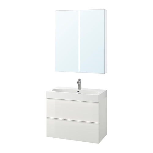 BRÅVIKEN/GODMORGON bathroom furniture, set of 4