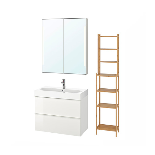 BRÅVIKEN/GODMORGON - bathroom furniture, set of 5, high-gloss white/Brogrund tap | IKEA Hong Kong and Macau - PE737887_S4