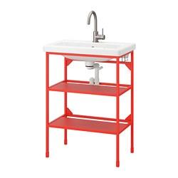 TVÄLLEN/ENHET - open wash-stand with 2 shelves, red-orange/Glypen tap | IKEA 香港及澳門 - PE777054_S3