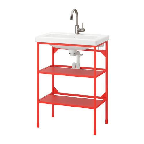 TVÄLLEN/ENHET - open wash-stand with 2 shelves, red-orange/Glypen tap | IKEA Hong Kong and Macau - PE777054_S4