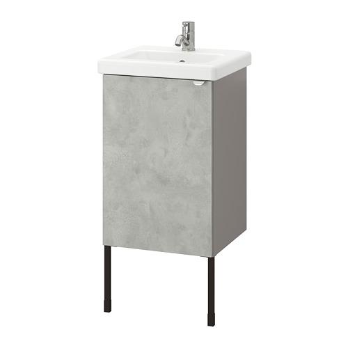 TVÄLLEN/ENHET - wash-basin cabinet with 1 door, concrete effect/grey Pilkån tap | IKEA Hong Kong and Macau - PE777063_S4