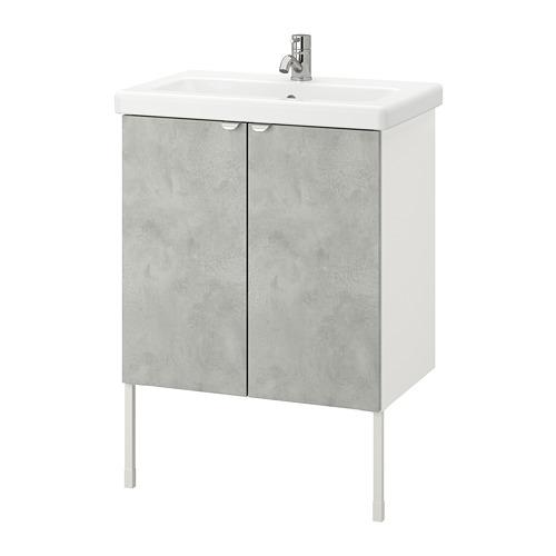 TVÄLLEN/ENHET - wash-basin cabinet with 2 doors, concrete effect/white Pilkån tap   IKEA Hong Kong and Macau - PE777098_S4