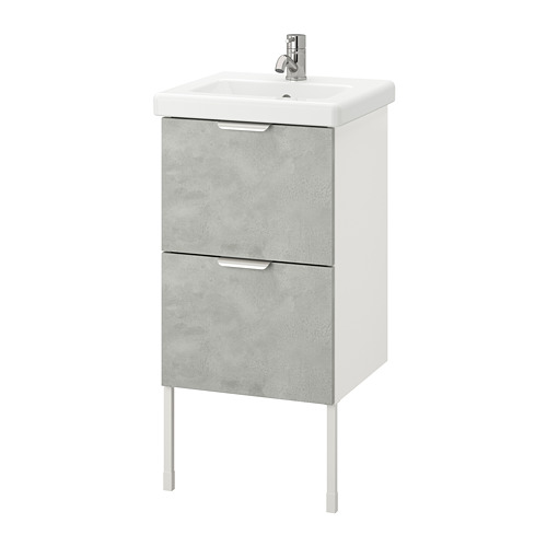 TVÄLLEN/ENHET - wash-stand with 2 drawers, concrete effect/white Pilkån tap   IKEA Hong Kong and Macau - PE777065_S4