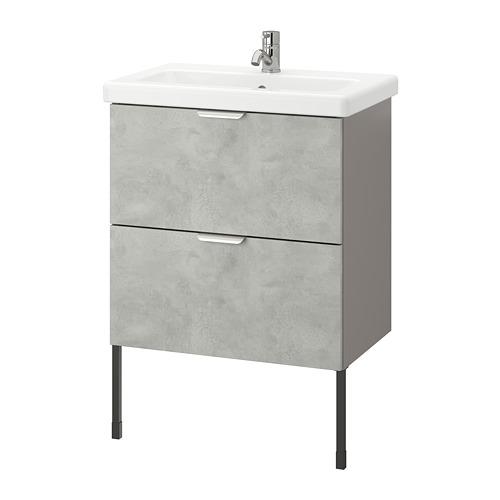 TVÄLLEN/ENHET - 雙抽屜洗手盆櫃, concrete effect/grey Pilkån tap   IKEA 香港及澳門 - PE777076_S4