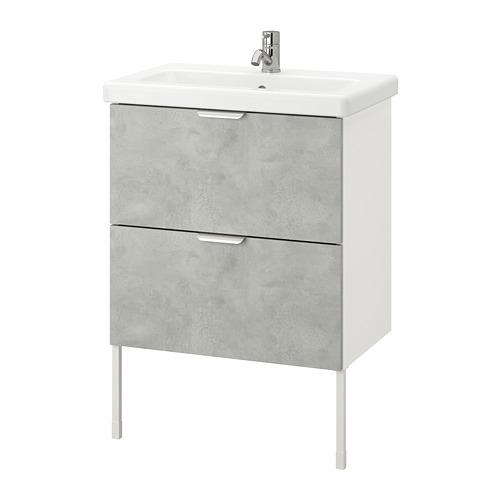 TVÄLLEN/ENHET - 雙抽屜洗手盆櫃, concrete effect/white Pilkån tap | IKEA 香港及澳門 - PE777099_S4