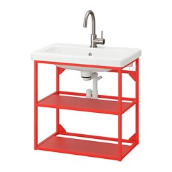 TVÄLLEN/ENHET - open wash-stand with 2 shelves, red-orange/Glypen tap | IKEA 香港及澳門 - PE777107_S3
