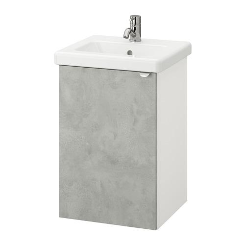 TVÄLLEN/ENHET - wash-basin cabinet with 1 door, concrete effect/white Pilkån tap | IKEA Hong Kong and Macau - PE777109_S4