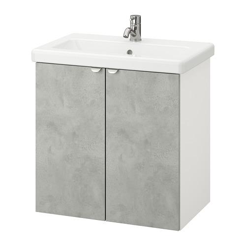 TVÄLLEN/ENHET - 雙門洗手盆櫃, 仿混凝土/白色 PILKÅN水龍頭   IKEA 香港及澳門 - PE777102_S4