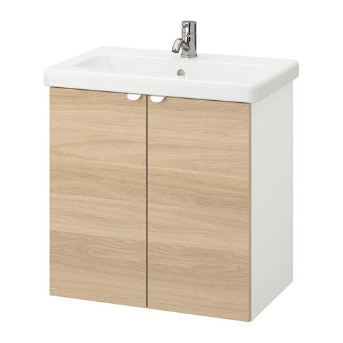 TVÄLLEN/ENHET - wash-basin cabinet with 2 doors, oak effect/white Pilkån tap | IKEA Hong Kong and Macau - PE777118_S4