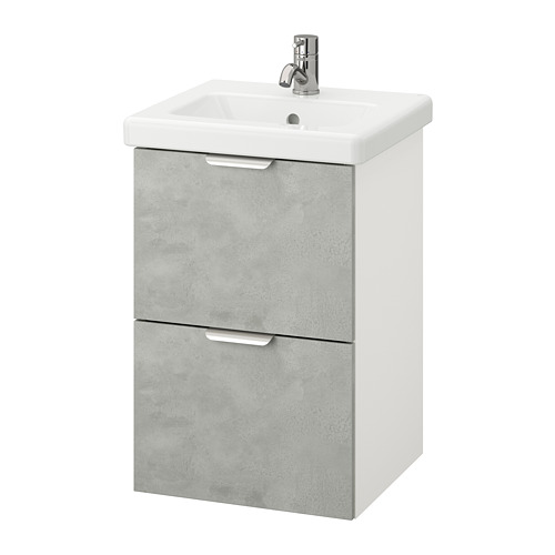 TVÄLLEN/ENHET - 雙抽屜洗手盆櫃, 仿混凝土/白色 PILKÅN水龍頭 | IKEA 香港及澳門 - PE777142_S4