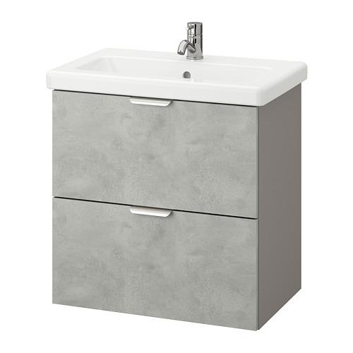TVÄLLEN/ENHET - 雙抽屜洗手盆櫃, concrete effect/grey Pilkån tap | IKEA 香港及澳門 - PE777120_S4
