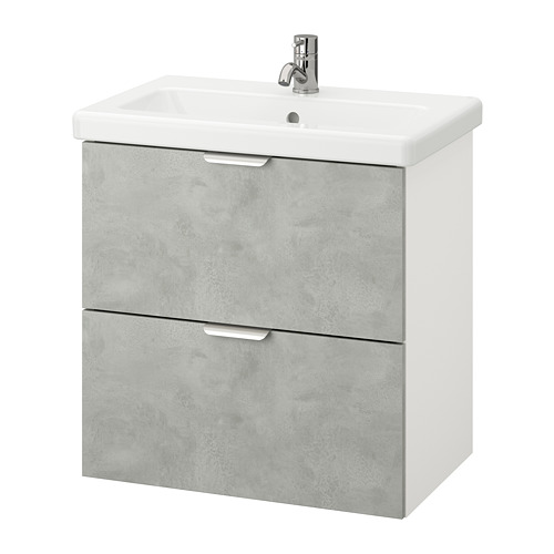 TVÄLLEN/ENHET - wash-stand with 2 drawers, concrete effect/white Pilkån tap | IKEA Hong Kong and Macau - PE777129_S4