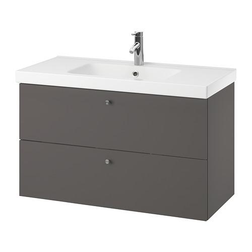 ODENSVIK/GODMORGON - 雙抽屜洗手盆櫃, Gillburen 深灰色/DALSKÄR水龍頭 | IKEA 香港及澳門 - PE777194_S4