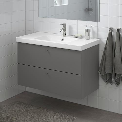 ODENSVIK/GODMORGON - 雙抽屜洗手盆櫃, Gillburen 深灰色/DALSKÄR水龍頭 | IKEA 香港及澳門 - PE777196_S4
