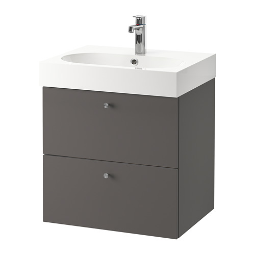GODMORGON/BRÅVIKEN - wash-stand with 2 drawers, Gillburen dark grey/Brogrund tap | IKEA Hong Kong and Macau - PE777203_S4