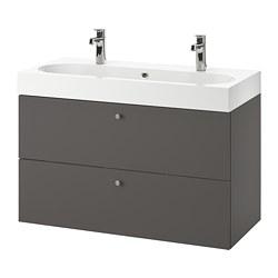 BRÅVIKEN/GODMORGON - wash-stand with 2 drawers, Gillburen dark grey/Brogrund tap | IKEA Hong Kong and Macau - PE777221_S3