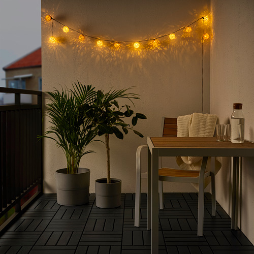 SOLVINDEN - 12頭LED裝飾燈串, 電池操作 白色/米黃色 | IKEA 香港及澳門 - PE791132_S4