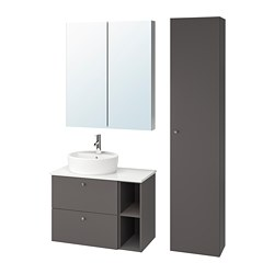 GODMORGON/TOLKEN/TÖRNVIKEN - 浴室貯物組合 7件裝, Gillburen dark grey/marble effect Dalskär tap   IKEA 香港及澳門 - PE777270_S3