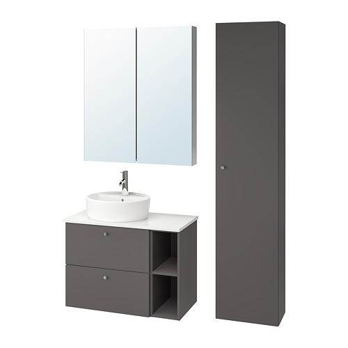 GODMORGON/TOLKEN/TÖRNVIKEN - 浴室貯物組合 7件裝, Gillburen dark grey/marble effect Dalskär tap   IKEA 香港及澳門 - PE777270_S4