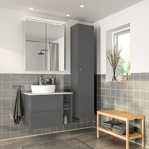 GODMORGON/TOLKEN/TÖRNVIKEN - bathroom furniture, set of 7, Gillburen dark grey/marble effect Dalskär tap | IKEA Hong Kong and Macau - PE777271_S4