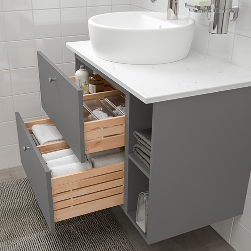 GODMORGON/TOLKEN/TÖRNVIKEN - 浴室貯物組合 7件裝, Gillburen dark grey/marble effect Dalskär tap   IKEA 香港及澳門 - PE777269_S4