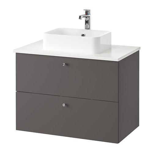 HÖRVIK/GODMORGON/TOLKEN - 洗手盆櫃連櫃台板組合, Gillburen dark grey/marble effect Brogrund tap | IKEA 香港及澳門 - PE777329_S4