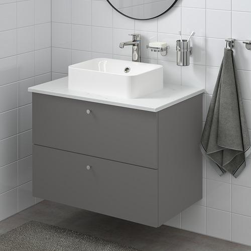 HÖRVIK/GODMORGON/TOLKEN - 洗手盆櫃連櫃台板組合, Gillburen dark grey/marble effect Brogrund tap | IKEA 香港及澳門 - PE777326_S4