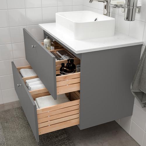 HÖRVIK/GODMORGON/TOLKEN - 洗手盆櫃連櫃台板組合, Gillburen dark grey/marble effect Brogrund tap | IKEA 香港及澳門 - PE777327_S4