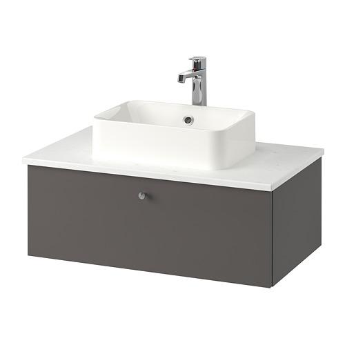 GODMORGON/TOLKEN/HÖRVIK - 洗手盆櫃連櫃台板組合, Gillburen dark grey/marble effect Brogrund tap | IKEA 香港及澳門 - PE777390_S4