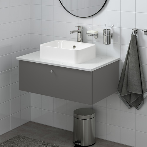 GODMORGON/TOLKEN/HÖRVIK - 洗手盆櫃連櫃台板組合, Gillburen dark grey/marble effect Brogrund tap | IKEA 香港及澳門 - PE777392_S4