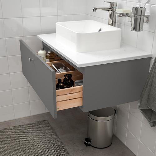 GODMORGON/TOLKEN/HÖRVIK - 洗手盆櫃連櫃台板組合, Gillburen dark grey/marble effect Brogrund tap | IKEA 香港及澳門 - PE777391_S4